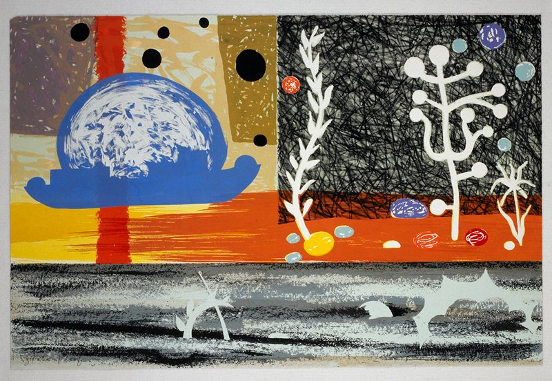 Multiple scene print; L PANEL: blue outline of a moon and overlapping ship against a multi-colored sky with black orbits throughout; a red vertical line on UL extends from behind the moon into yellow and reddish-brown water; R PANEL: reddish brown seabed with rocks and vegetation set against a scribbled black and tortoise background; LOWER PANEL: a grayish tortoise seabed with foreign objects (presumably vestiges of a boat) lodged in the sand Nearly identical to P.86.63.65; see notes