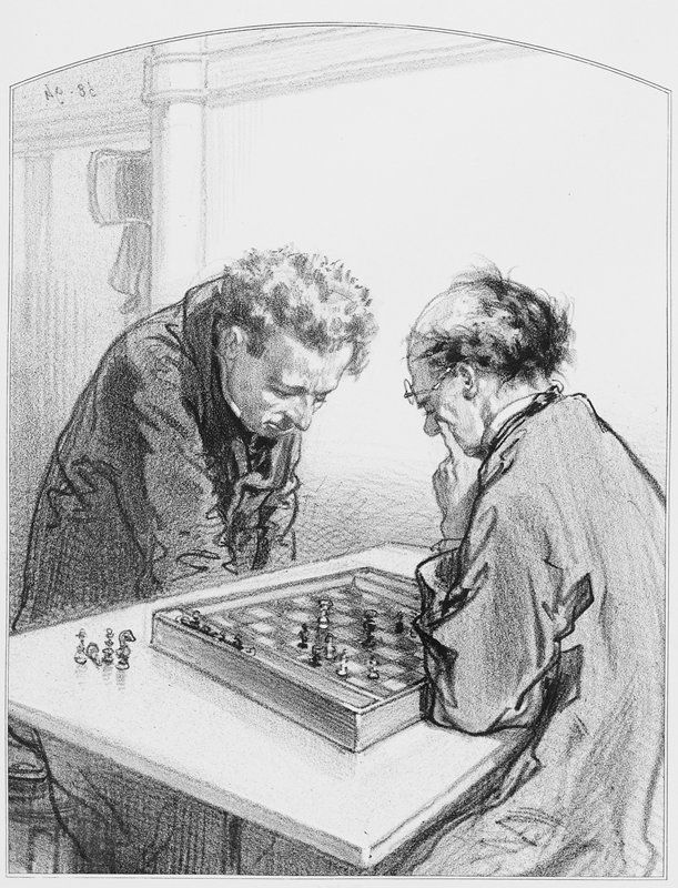 two men seated at a table, playing chess; man on R has his glasses pushed up on his forehead