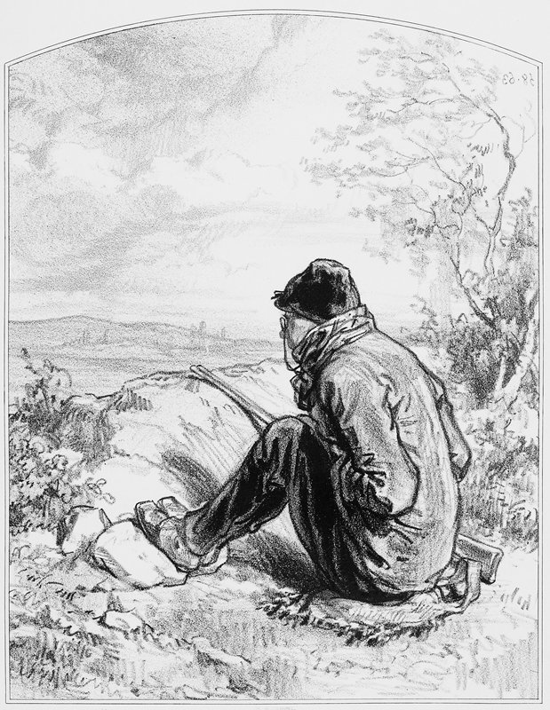seated man wearing spectacles, cap, coat and scarf, looking down into a valley; feet resting on rock; knees drawn up to chest