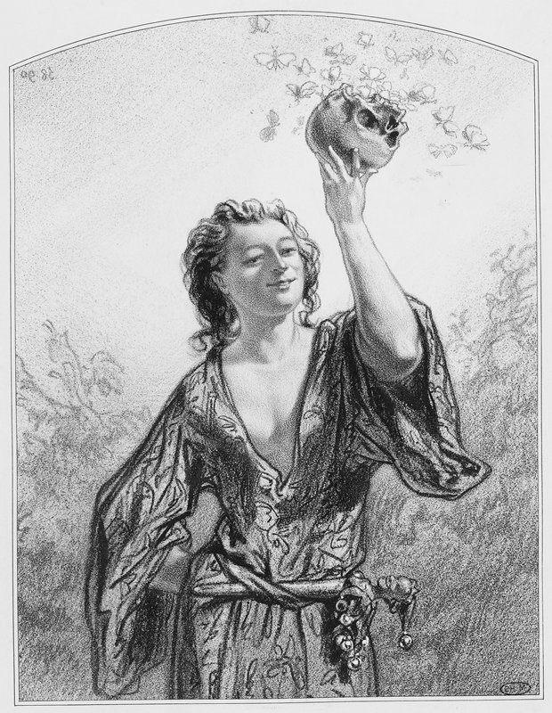bare-chested young man with long hair, wearing a printed robe with a jester's scepter stuck into the belt; man holds a skull in his PL hand with emerging butterflies