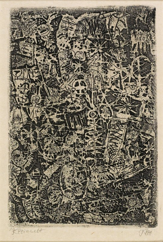 abstract image with stick figures, body parts, heads, flower shapes, and abstract designs; printed in black;