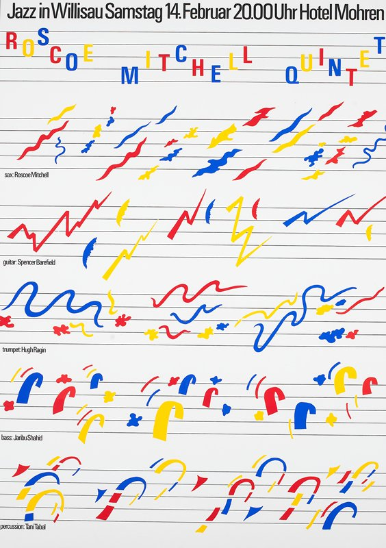 red, blue and yellow squiggles as notes on white background; black metal frame