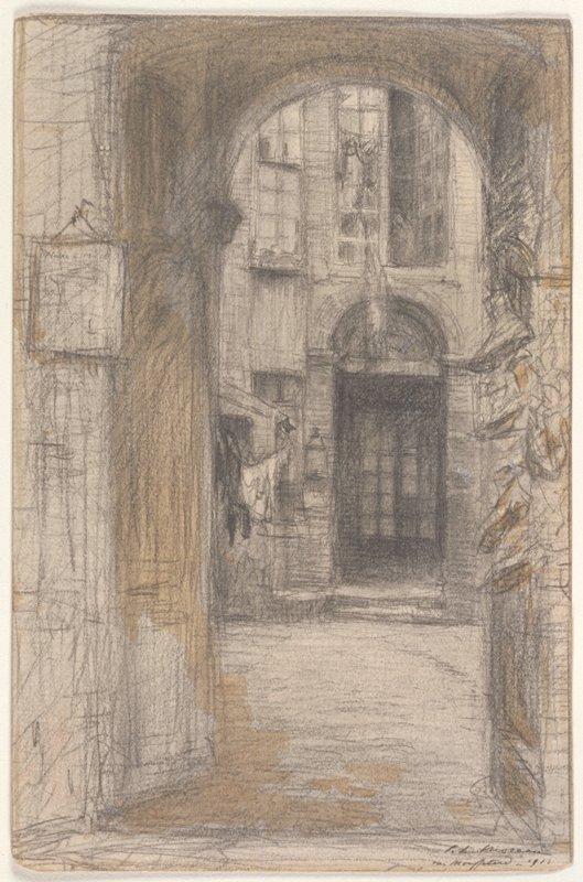 Street scene; view of a doorway through an arch
