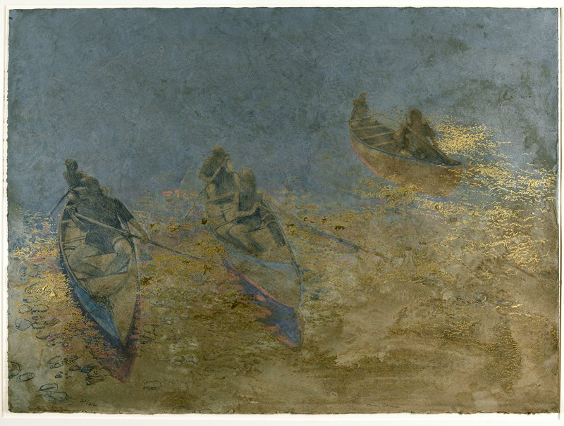 three canoes, each with two canoeists holding paddles; gold-accented waves and ripples in foreground; blue-grey background water
