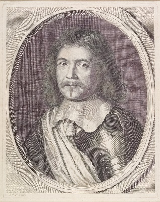 """portrait of a man surrounded by an ovoid patterned """"frame""""; man has shoulder-length wavy hair, moustache and small beard and wears armor and a large collar"""