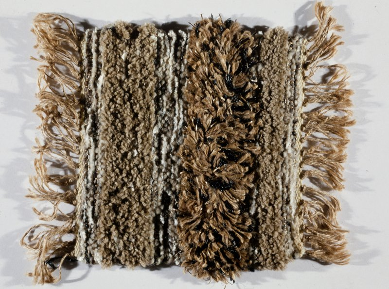 linenwarp, wool chenille weft; synthetic and Rovana pile handspun Mexican wool plus synthetics; brown, beige, black