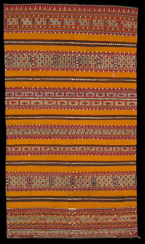 straight; tube-style; woven stripes of red, yellow, brown, blue and cream are embellished with sequins, metallic geometric embroidery and applique in red