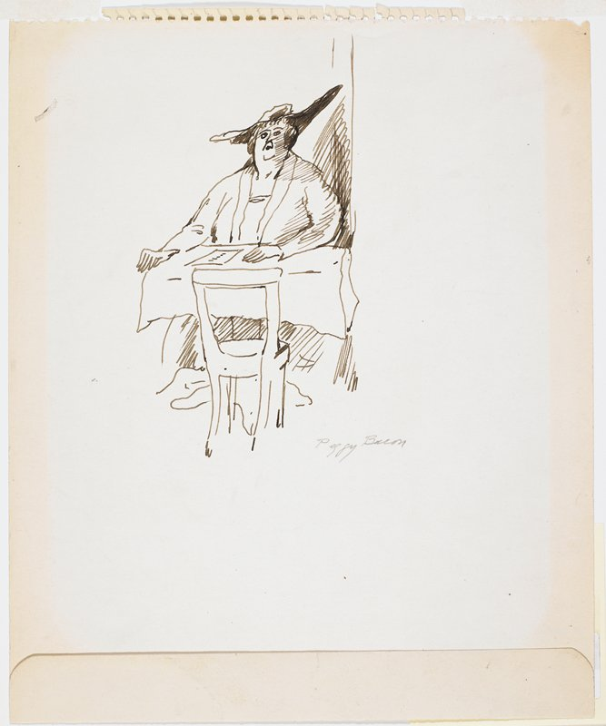 woman seated at table; chair facing her unoccupied; page torn from a tablet (?); gray mat with silver trim around center