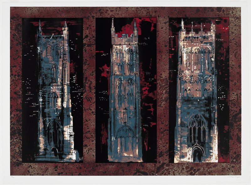 three panels, each with a square tower; each tower slightly different with different number and placement of windows, different archways at base of tower; colors primarily dark red, black and a grayish bluewith white accents