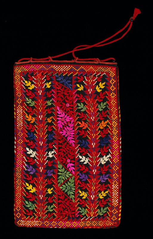 red, blue, green, pink leaf embroidery on black ground; red looped cording attached to top edge carries red corded drawstring; no lining; cotton ground with silk or cotton embroidery