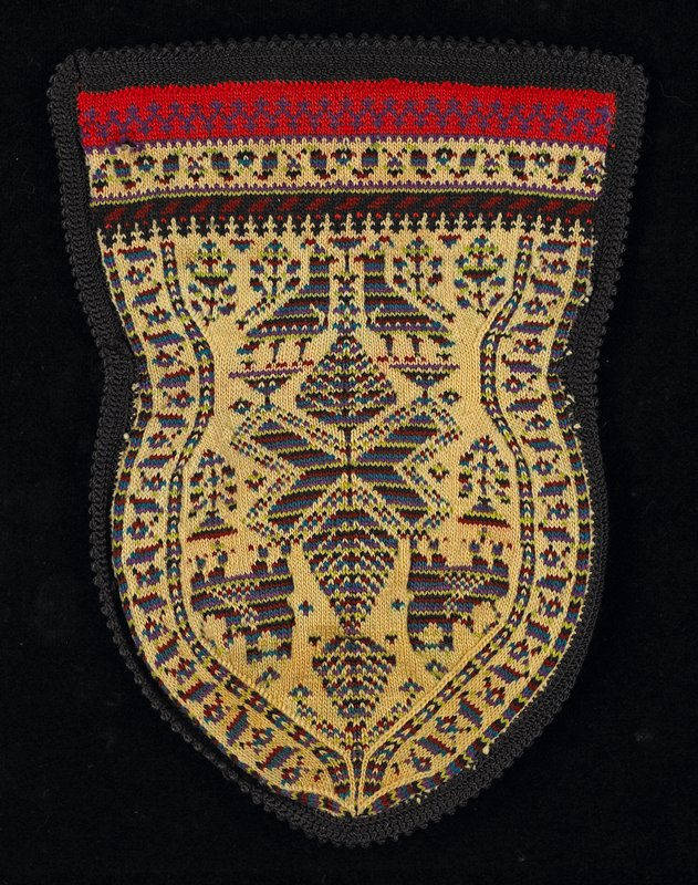 pouch style with black crocheted edging all around; red and tan bands on top edge; pouch has design of birds and animals in blue, green and maroon on tan
