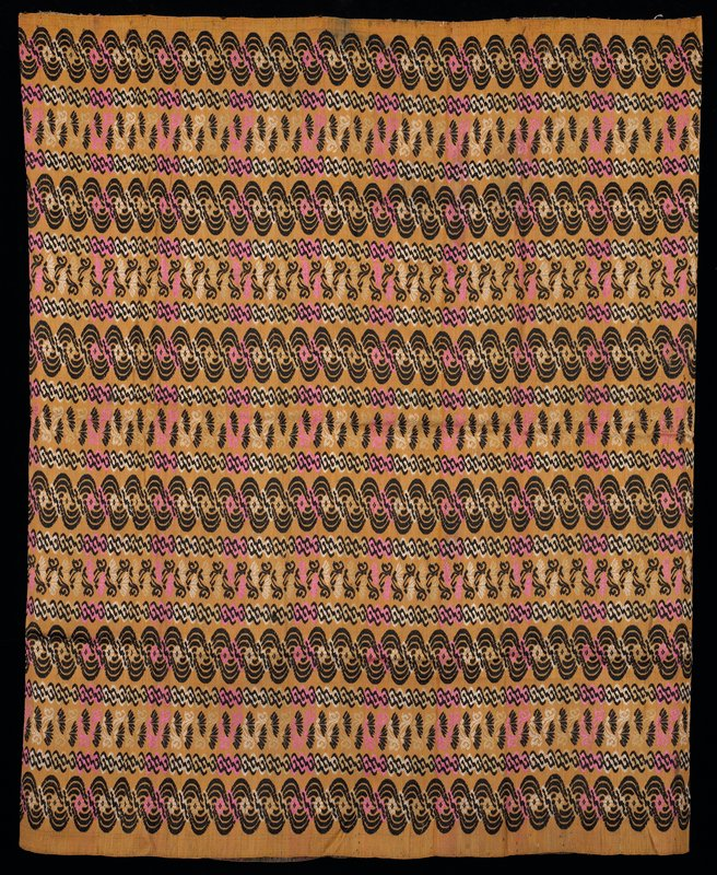 horizontal woven pattern in black, pink, white on gold background; Luntaya style