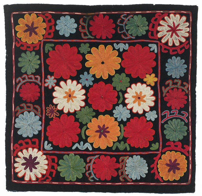 Black wool ground with polychrome silk embroidery through a substrate of pieced printed and striped cotton. The edges are unfinished and there is no backing. Center square with wide borders. All embroidered. Chain stitch.