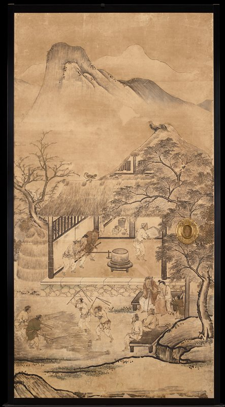 unsigned; from the Saga Palace, Kyoto; mountain in background; figures in a building and in front of building; trees at left and right of building