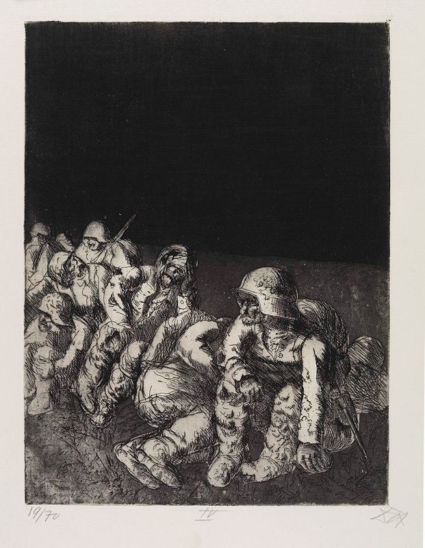 seated soldiers in a dark, barren landscape with a black sky