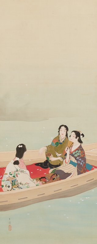 three women in brightly-patterned kimonos seated in a boat; woman at R holds a partially folded fan under her chin