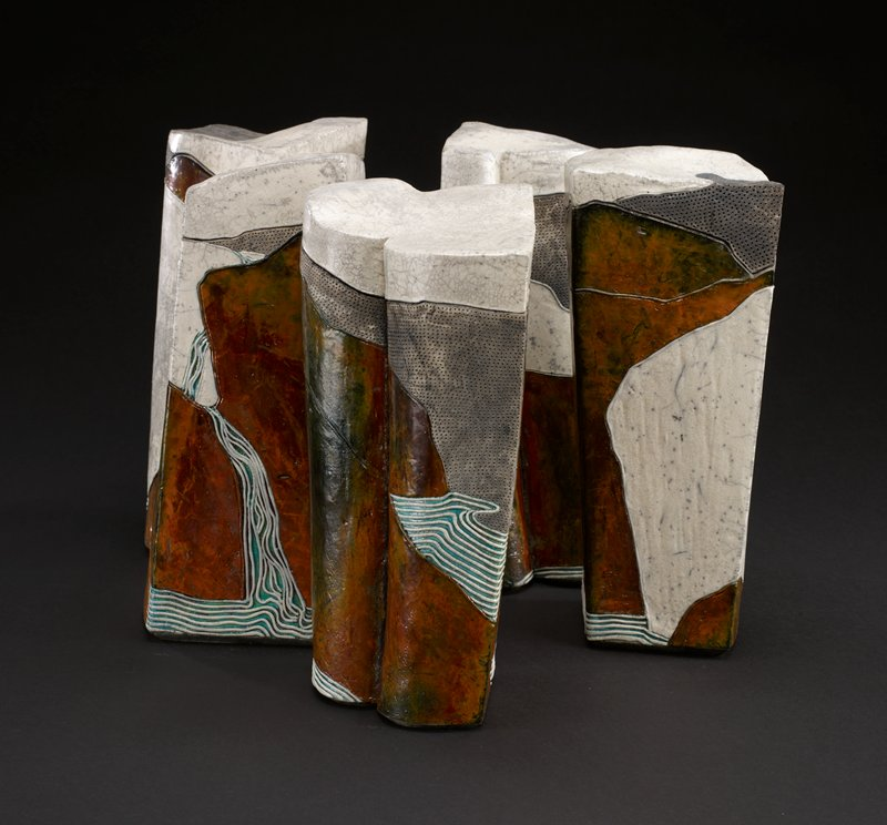 one of 5 lidded pieces; covered vessels, raku-fired