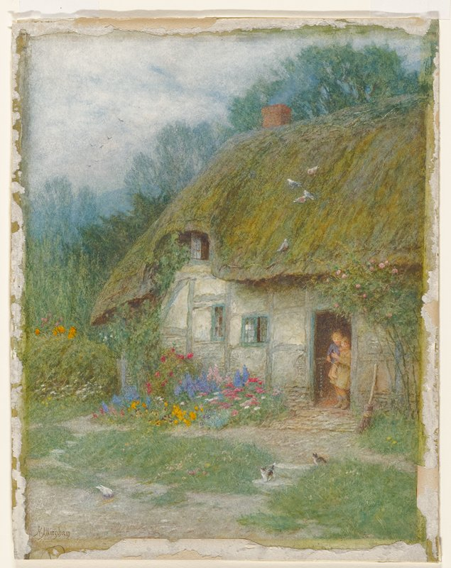 two children (larger child holding smaller) in the open doorway of a small cottage with thatch roof; birds on roof; two kittens on stone steps; flower garden to left of door