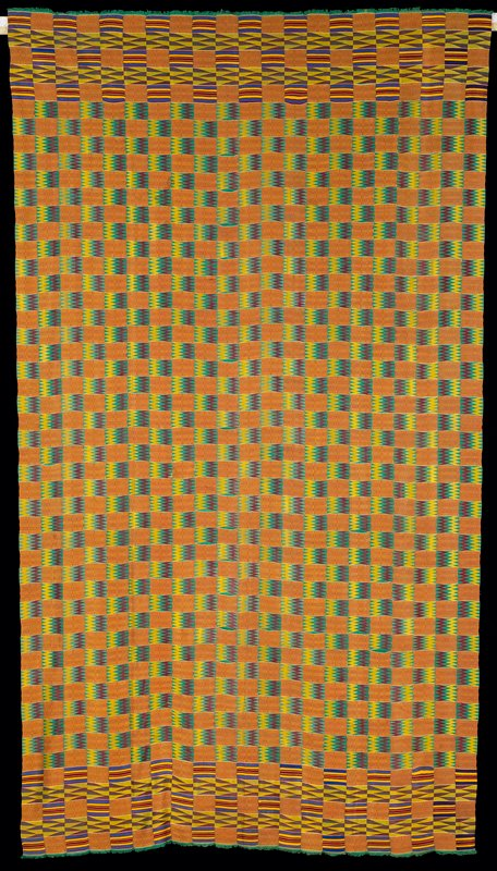 green ground with gold and burgundy zigzags; gold and burgundy nnwotoa blocks; 21 strips sewn together