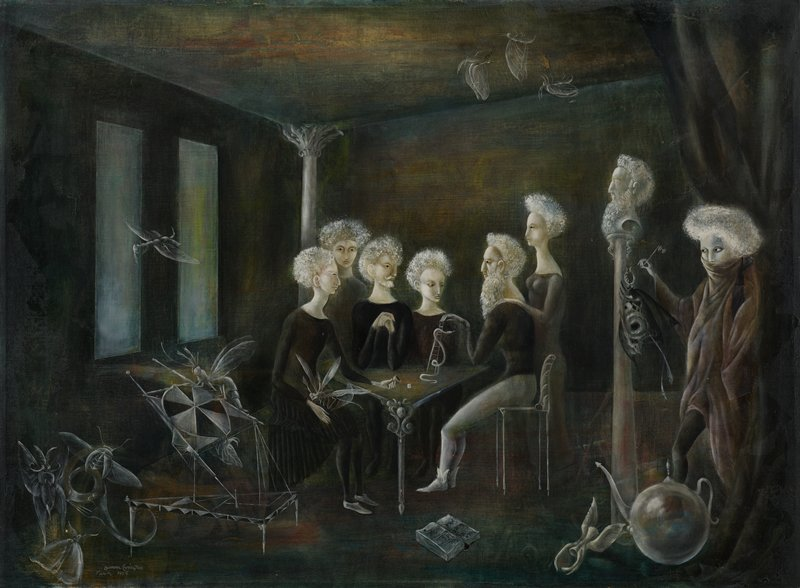six pale figures with white hair, wearing dark clothing, seated and standing around a table; another figure emerging from a curtain at right; transparent insect figures in scattered through image; dark interior; Surrealist style