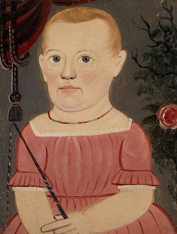 primitive portrait of a little girl with blue eyes and short blonde hair, wearing a pink dress with white trim and a blue and red necklace; girl holds a switch (?); roses at right; swag in ULC; grey ground