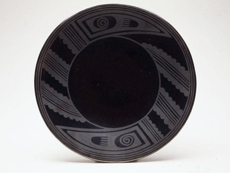 Plate, polished blackware with matt design around rim; reduction-fired pottery; diam. 10-3/8 in.