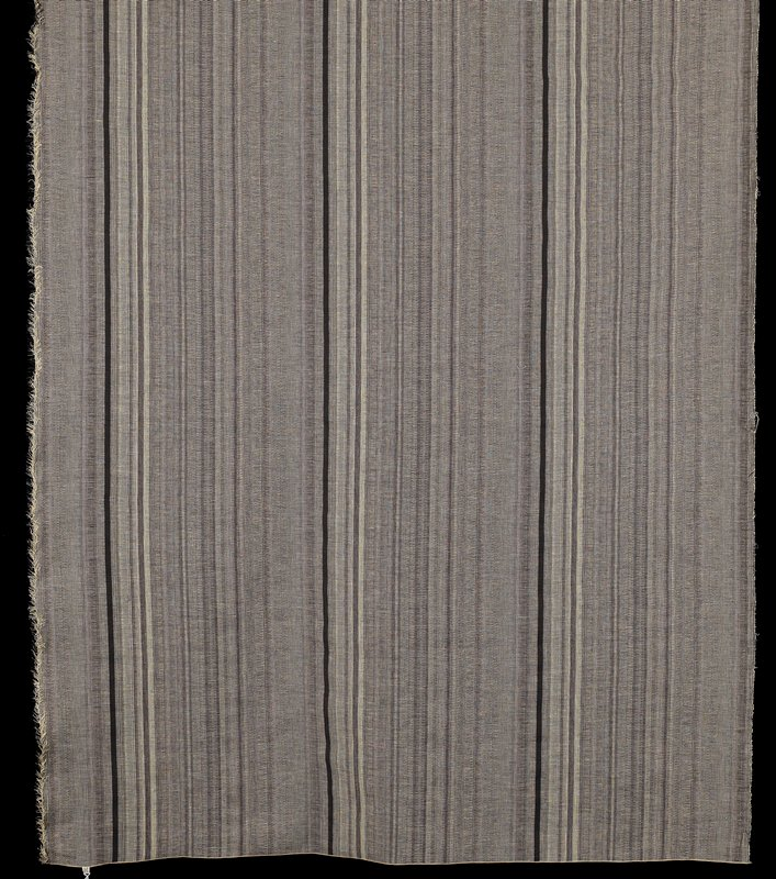 vertical pattern, black and linen color stripes; complex flat weave; ends machine overcast; finished by company as display panel