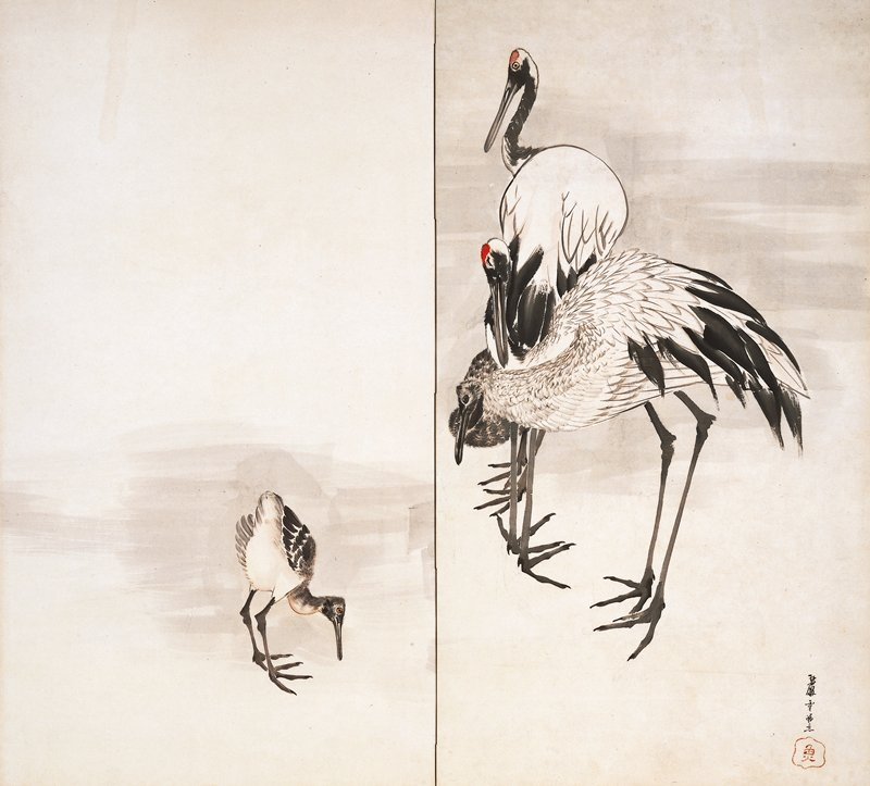 two-fold screen; R screen from pair; very young crane at L panel; three cranes at R panel