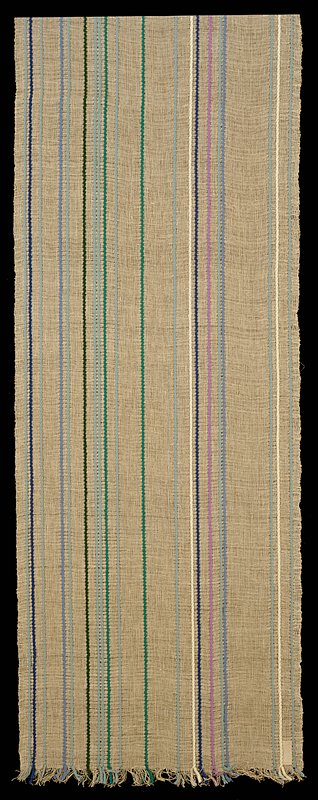 loosely woven plain weave of tan linen with integrated warp-twined strands of wool, in blues, cream and greens