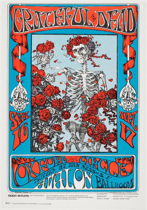 Family Dog poster no. 26; skeleton surrounded by red and white roses and wearing a crown of roses against blue background
