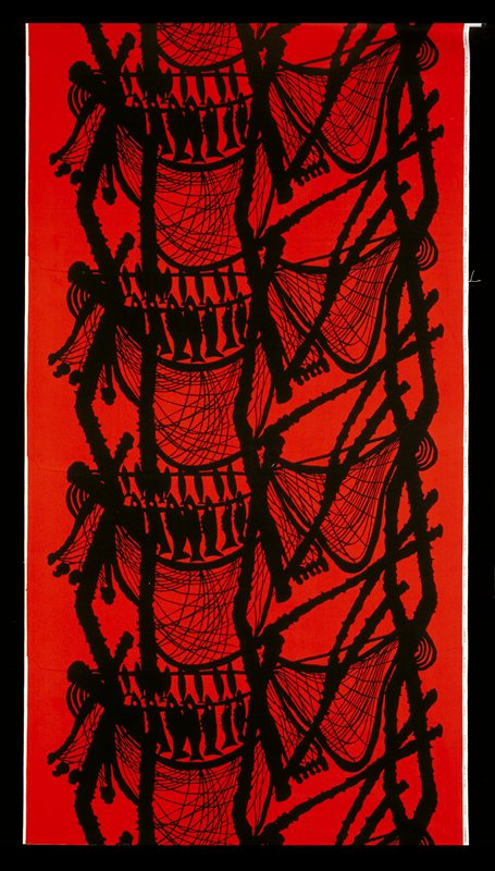 Bkg. red; color black for fishes, nets and cords