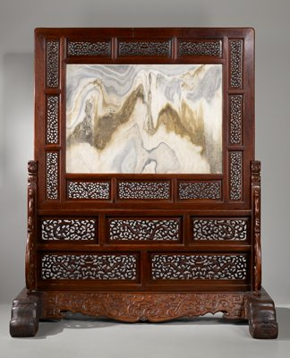 Standing Screen with Marble Panel, gray brown and white marble slab reminiscent of a misty mountain, set into a wood frame; twelve carved panels within frame depict chi dragons and scrolls; frame set into larger stand