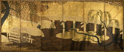 flat gold bridge at right; stylized brown waves on water; water wheel at left; weeping willows at ULC and LRC